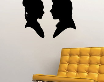"Han Solo and Princess Leia Silhouette Wall Decal (22""w x 17""h)"