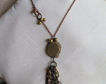 chain necklace, unique necklace, mixed metal necklace, heart necklace, boho necklace, bronze necklace, metallic necklace, gold necklace