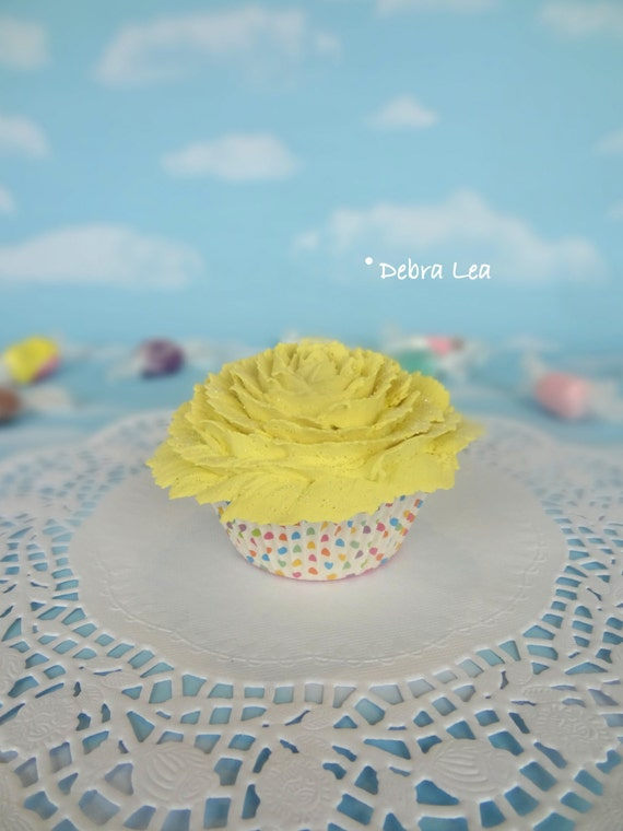 Fake Cupcake Handmade Spring Garden Shabby Cottage Victorian Faux Tea Cake Yellow Shabby Chic Valentine's day