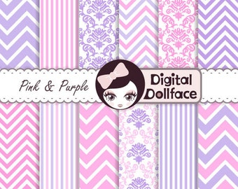 Pink and Purple Birthday Digital Paper Kit, Kids Scrapbook Damask, Printable Chevron Pattern