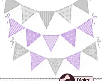 Lilac Baby Shower Clip Art, Invitation Clipart, Banners, Purple And Grey
