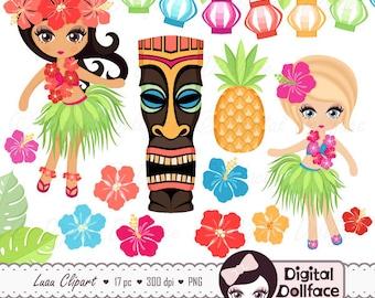 Hawaiian Luau Clipart / Hula Girl, Hibiscus, Tiki Clip Art