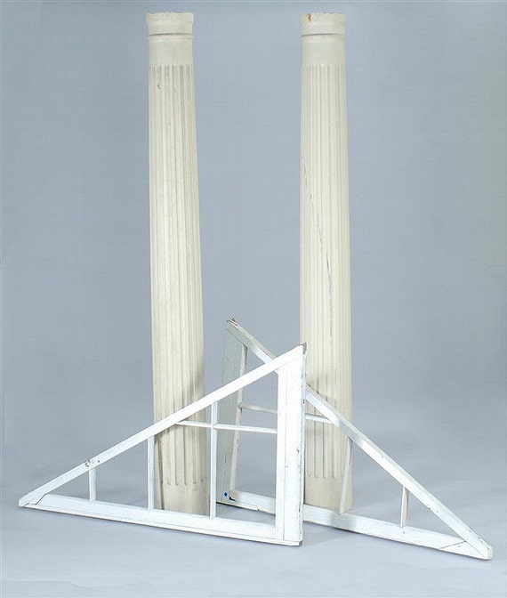 Pair early 20th c architectural fluted wood columns by for Architectural wood columns