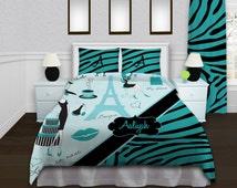 Popular items for paris themed bedding on etsy for Blue zebra print bedroom ideas