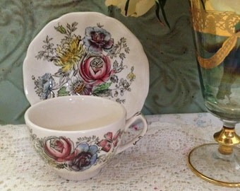 Vintage Cup and Saucer- English Ironstone- Johnson Brothers Sheraton- Prairie
