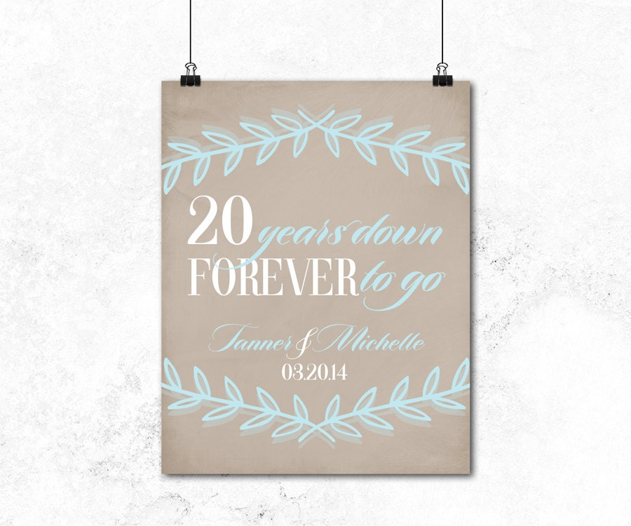 20th anniversary gift for husband or for wife by WillowLanePrints