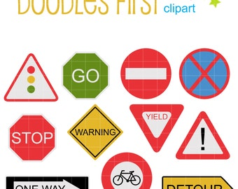 Road Signs Clip Art for Scrapbooking Card Making Cupcake Toppers Paper Crafts