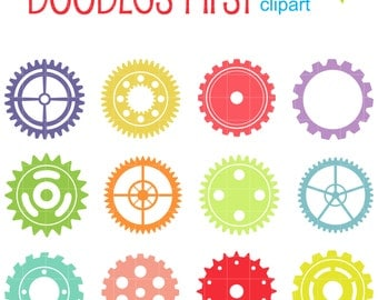 Machine Gears Clip Art for Scrapbooking Card Making Cupcake Toppers Paper Crafts