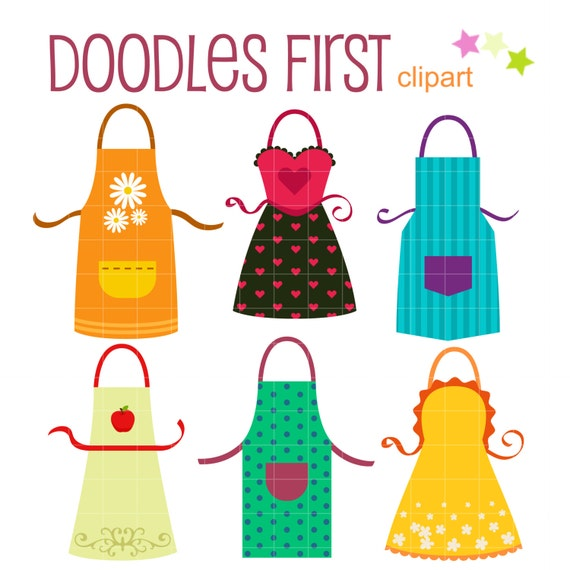 Fun Colorful Kitchen Aprons Digital Clip Art For Scrapbooking