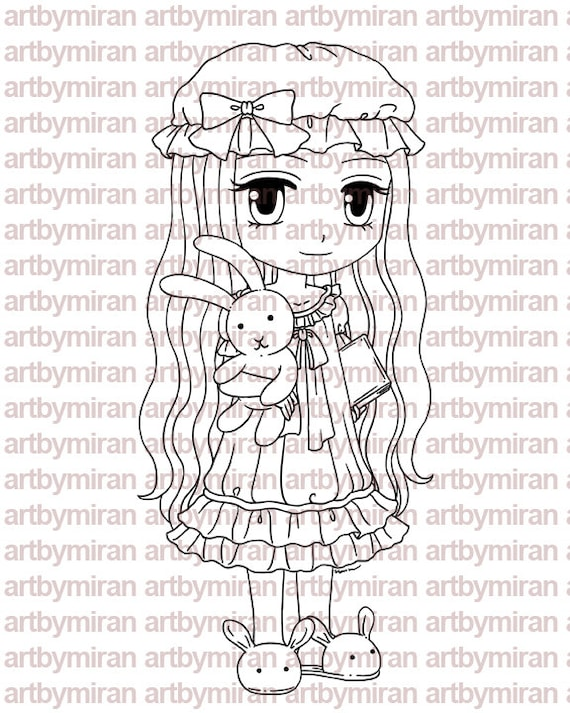 Digital Stamp - Bed Time, Digi Stamp, Coloring page, Printable Line art for Card and Craft Supply