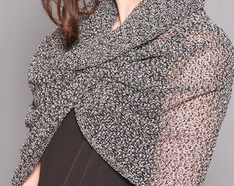 Infinity Scarf, Loop Scarf, Black And White Hooded Scarf, Spring Scarf, Womens Scarves