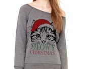 Grey Wideneck - Meowy Christmas Santa - Merry Cat Kitten Ugly Oversized Ugly Christmas Sweatshirt Sweater Jumper Pullover