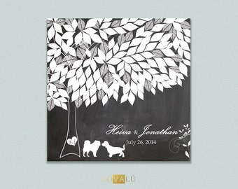 Custom Alternative wedding Guestbook with dogs on canvas 170 signature on chalk background. It's possibie only in pdf