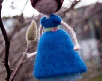 Needle felted girl decoration