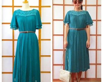 Vintage Turquoise Lace Dress, 1980s, Japan, Size S to M