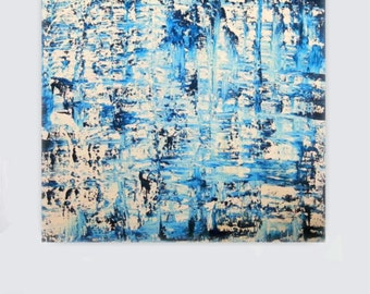 Abstract painting canvas art blue teal turquoise white wall art big huge painting contemporary art minimalist modern art