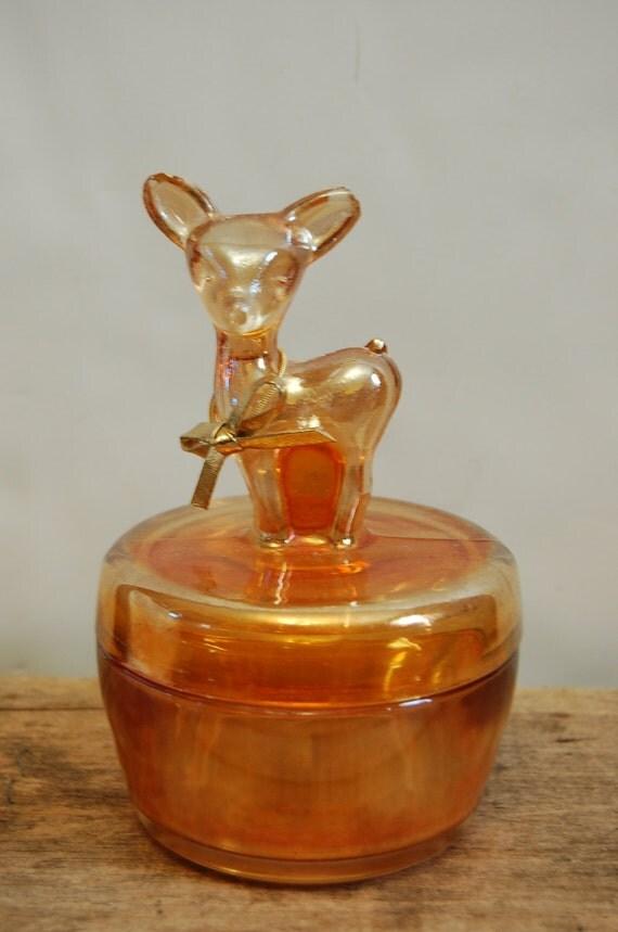 Vintage Carnival Glass Deer Jewelry Box Orange Fawn Jewelry