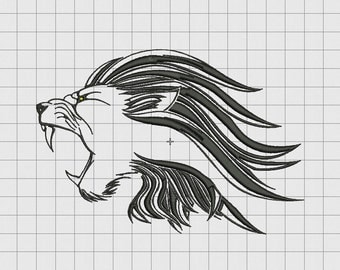 Lion Roar Detailed Outline Embroidery Design in 4x4 5x5 6x6 and 7x7 Sizes