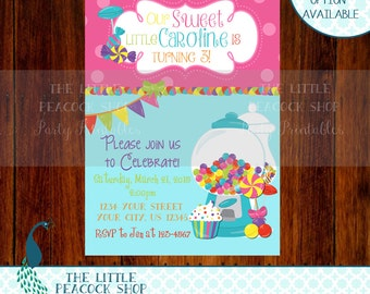 Candy Sweets Birthday party or Baby Shower digital and printable invitation!