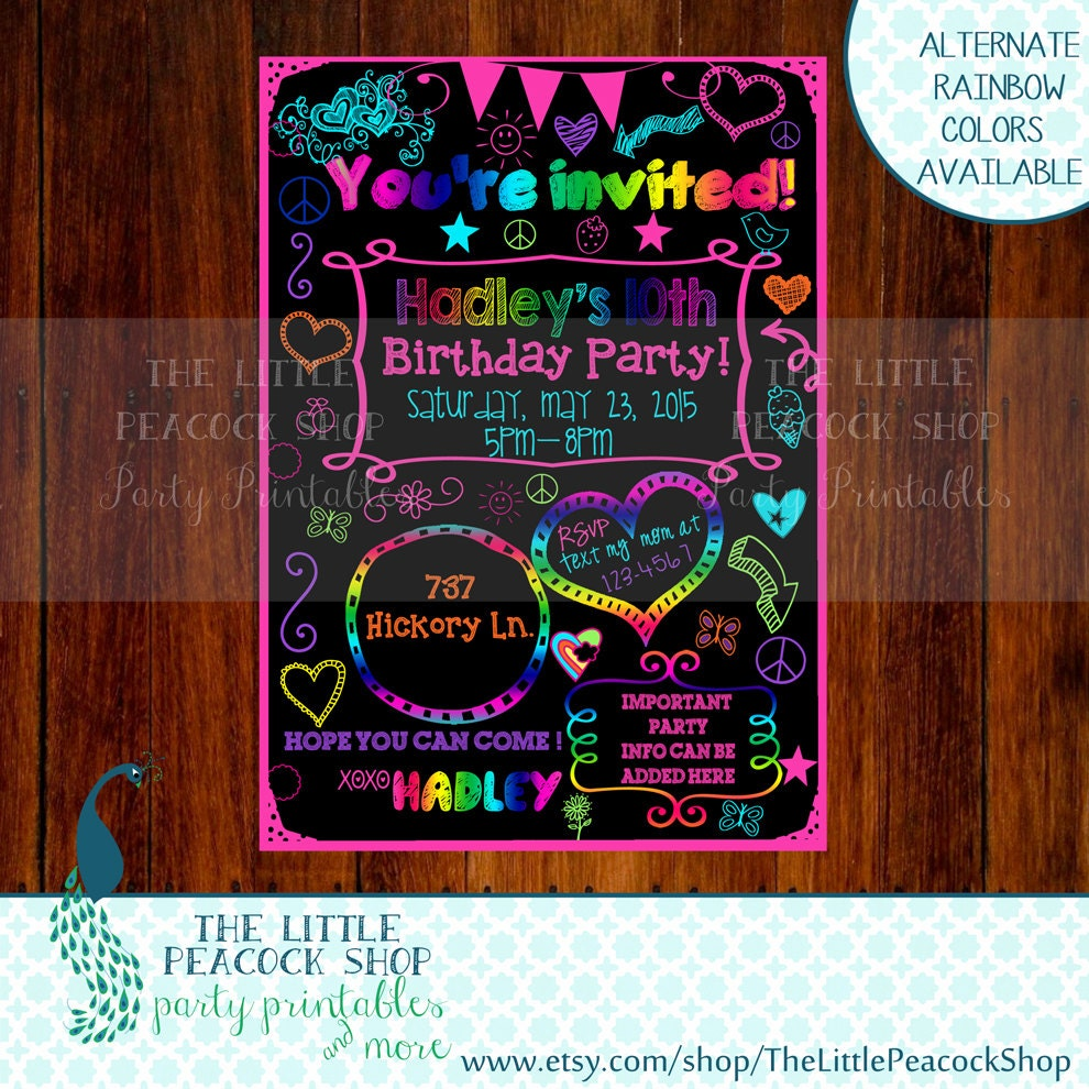 Teen Tween Glow Neon doodle invitation by TheLittlePeacockShop