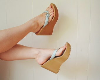 Leather Nude Wedges US 9