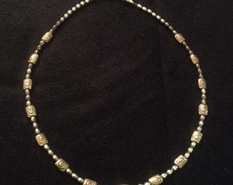 Vintage Sterling Silver Beaded Swirl Design Necklace