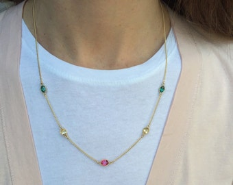 Long gold chain necklace, long gemstone necklace, gold chain necklace, gemstone jewelry, gold necklace, multi gemstone necklace