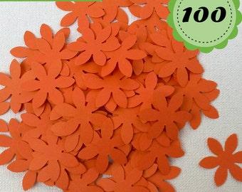 Orange Confettis - 100 Flowers - Scrapbooking - Party confetti
