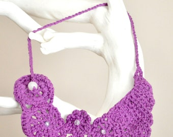 Crochet bib necklace - Purple cotton statement necklace - Metal free