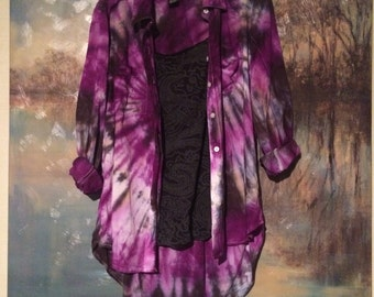Black and Purple Spiral Tie Dye Button Up Collared Womens Shirt: Sizes Medium and X-Large (one in each size)
