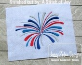 Fireworks in the Sky Satin Stitch Embroidery design - 4th of July Embroidery design