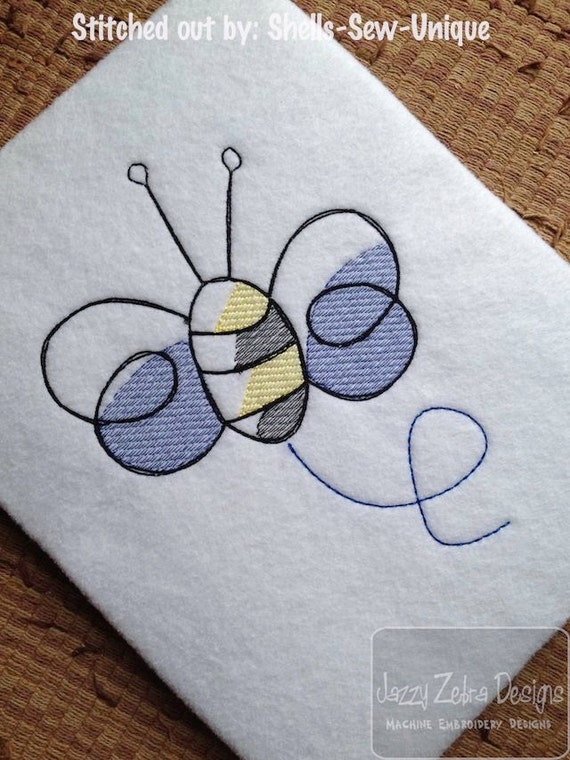 Bumble Bee Sketch Embroidery Design - summer Sketch Embroidery Design - spring Sketch Embroidery Design - bee Sketch Embroidery Design - bug