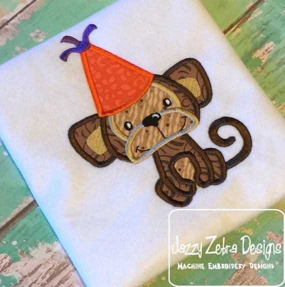 Monkey Birthday Appliqué embroidery Design - Birthday appliqué design - monkey appliqué design