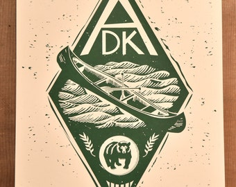 ADK // New York's Adirondack Mountains // Handmade Screen Print