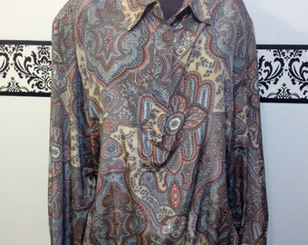 1980's Neutral Plus Size Secretary Hipster Blouse by Alfred Dunner , Size 18 / 20, 2X, Plus Vintage Secretary Blouse, 80's Hipster Shirt