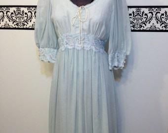 1960's Bohemian Gunne Sax Dress, Size 13, Vintage 60's Boho Wedding Dress by Gunne Sax, Vintage 1960's Baby Blue Peasant Dress