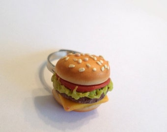 Cheeseburger Adjustable Ring, Polymer Clay Food Accessories
