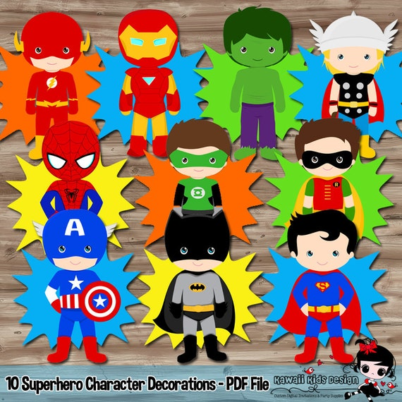 Superhero Birthday Party Supplies Diy Character PopUps