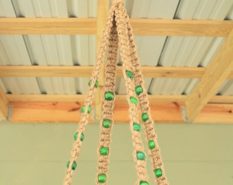 Jute Macrame Large Plant Hanger with Green or Orange Wooden Beads