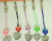 Heart Charm with Dust Plug for Cellphone/USB/Zipper pull/stylus