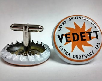 White, Orange & Black Upcycled Vedett Belgian Beer Bottle Cap Cufflinks