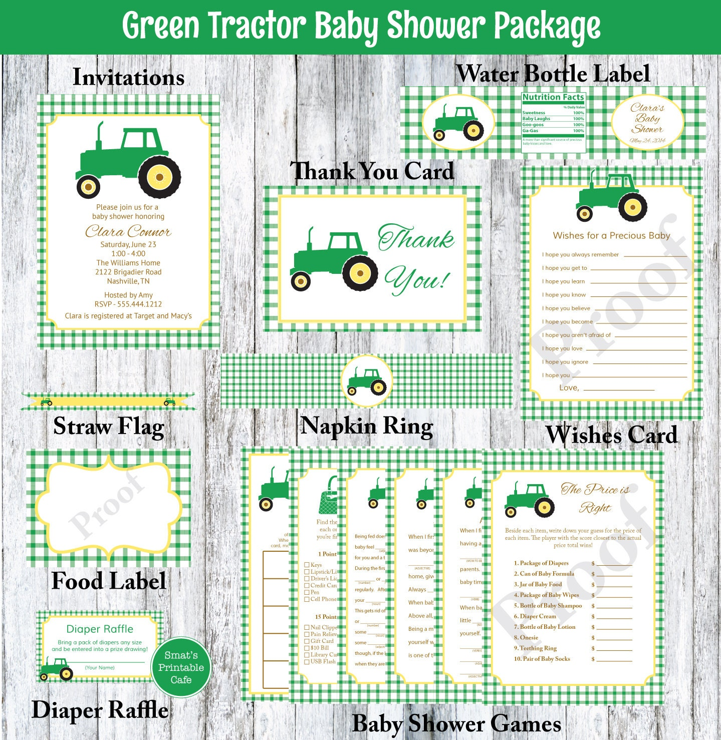 green tractor baby shower package printable invitation baby