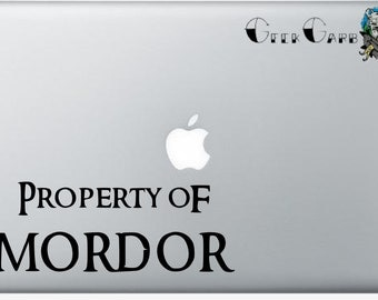 Property of Mordor - Lord of the Rings inspired Macbook Decal - Car Decal - Laptop Decals - Etc...