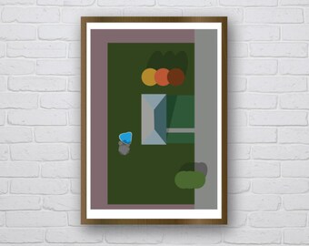 Suburbs in the Fall - original giclee art print