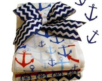 Anchors Away - Nautical Theme Baby Burp Cloth Set - Baby Shower Gift