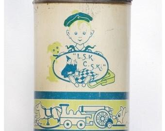 """French vintage tin box Vermicelle Ancienne boîte ronde ELESCA Vermicelle 1kg """"L.S.K. C.S.KI. French charming metal box"""
