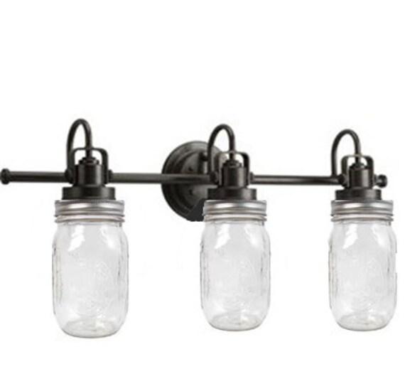 Mason Jar Vanity Light: Bathroom Lighting Industrial Vanity Light By MuttonHollowCottage