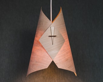 Wood Pendant Light Ceiling Light Fixture Wood Lamp Shade Modern Pendant Light in Veneer- The Diamond