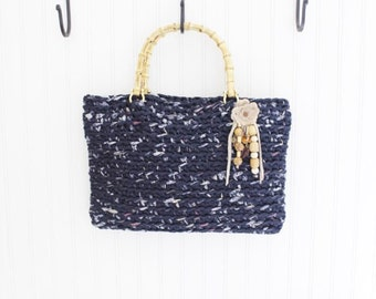 Navy Blue Multi Crochet Handmade Handbag