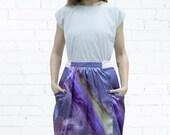 Valentines Day SALE! Silk Skirt , Purple Skirt , Mini Skirt , Evening Skirt , High Waist Skirt , A Line Skirt , Flounce Skirt